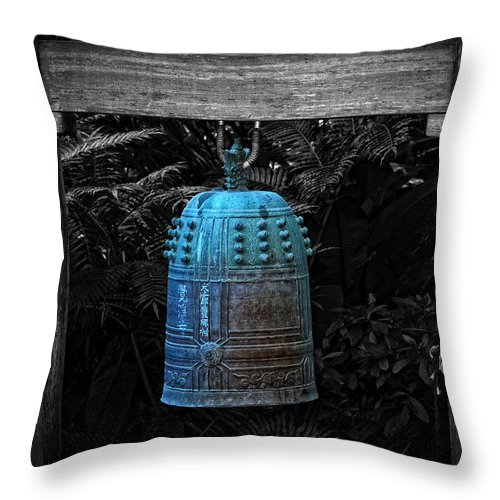 Temple Throw Pillow featuring the photograph Temple Bell - Buddhist Photography By William Patrick And Sharon Cummings by Sharon Cummings
