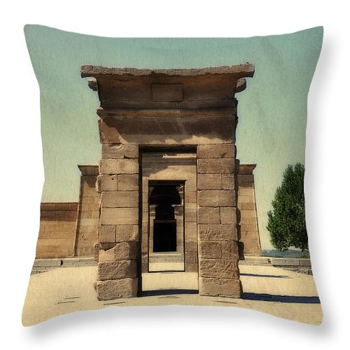 Temple Of Debod Throw Pillow featuring the photograph Temple Of Debod by Mary Machare