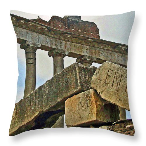 Temple Throw Pillow featuring the photograph Temple Of Saturn In The Roman Forum by Jean Hall