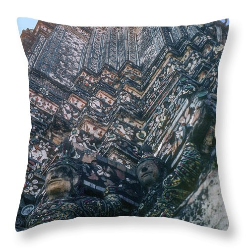 Temple Of Dawn Wat Arun Temple Of The Rising Sun Temples Prang Spire Spires Tower Towers Landmark Landmarks Place Places Of Worship Structure Structures Building Buildings Architecture Detail Bangkok Thailand Throw Pillow featuring the photograph Prang Spire by Bob Phillips