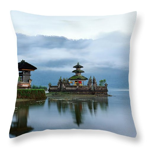 Pura Ulun Danu Bratan Throw Pillow featuring the photograph Pura Ulun Danu Bratan by Rod McLean