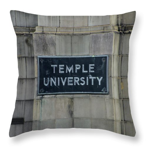 Temple Throw Pillow featuring the photograph Temple U by Bill Cannon