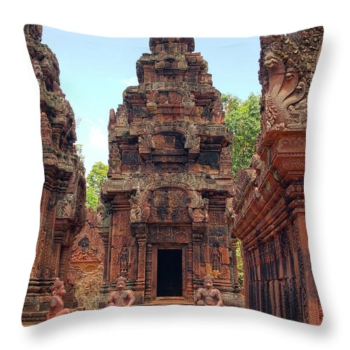 Cambodian Culture Throw Pillow featuring the photograph Temple by William Childress