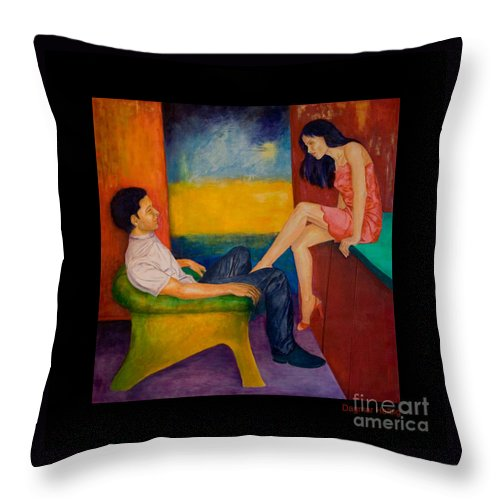 Human-picture-original Throw Pillow featuring the painting Temptation by Dagmar Helbig
