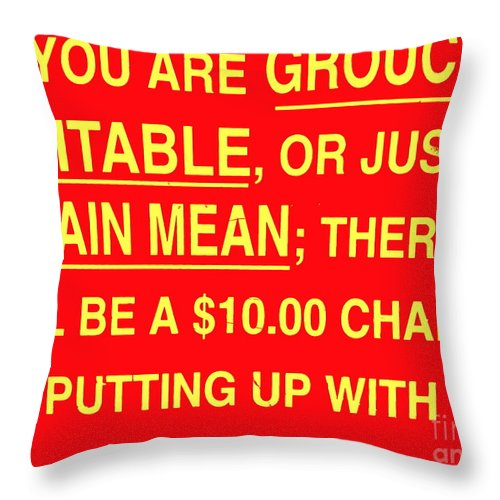 Signs Throw Pillow featuring the photograph Ten Dollar Charge by Ed Weidman