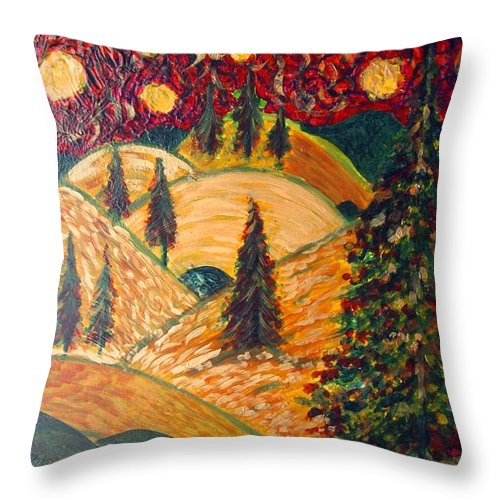 Throw Pillow featuring the painting Ten Moons In Scarlet Sky by Jacqui Hawk