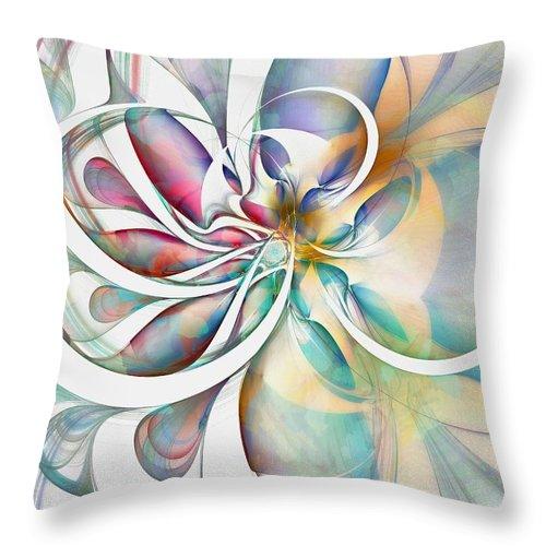 Digital Art Throw Pillow featuring the digital art Tendrils 04 by Amanda Moore