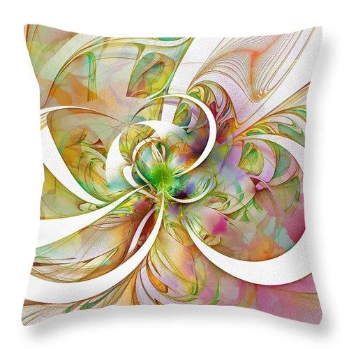 Digital Art Throw Pillow featuring the digital art Tendrils 06 by Amanda Moore