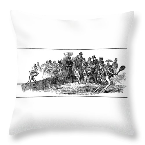 1879 Throw Pillow featuring the painting Tennis Wimbledon, 1879 by Granger