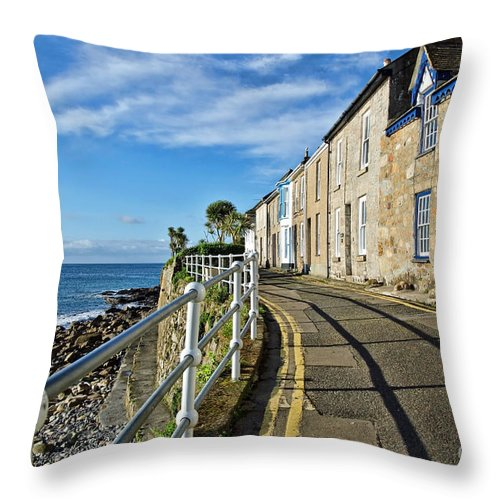 Mousehole Throw Pillow featuring the photograph Terraced Cottages At Mousehole by Susie Peek