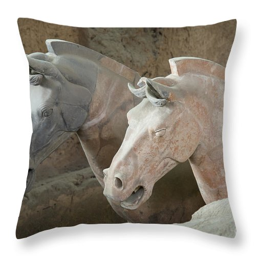 Archeology Throw Pillow featuring the photograph Terracotta Warrior Horses, China by John Shaw