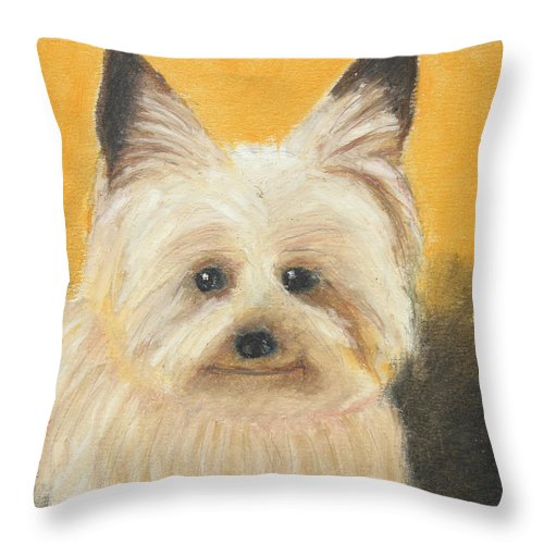 Mammal Throw Pillow featuring the painting Terrier by Jeanne Fischer