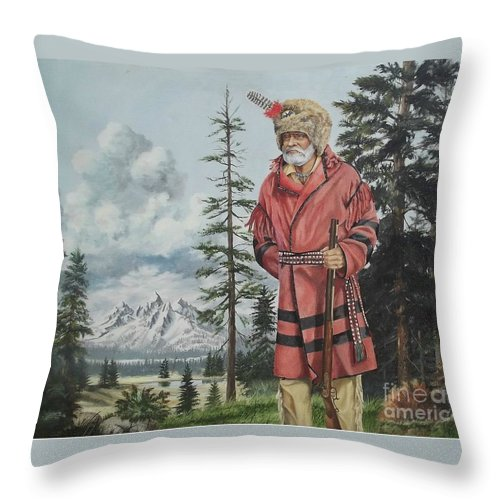Landscape Throw Pillow featuring the painting Terry The Mountain Man by Wanda Dansereau