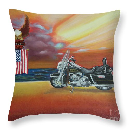 Motorcycle Throw Pillow featuring the painting Terry's Hog by Lora Duguay