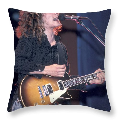 Tesla Throw Pillow featuring the photograph Tesla - Frank Hannon by Concert Photos