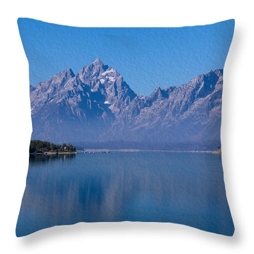 Jackson Throw Pillow featuring the photograph Teton Peaks by John M Bailey
