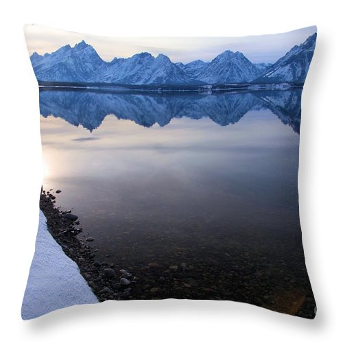 Grand Teton Throw Pillow featuring the photograph Teton Reflections by Adam Jewell
