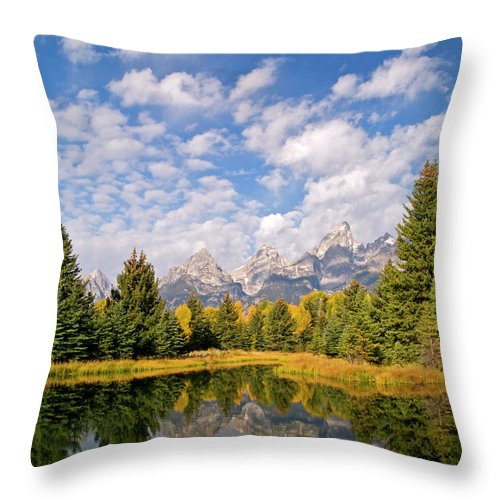 Landscape Throw Pillow featuring the photograph Teton Reflections by Alex Cassels
