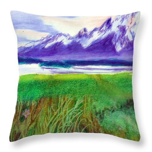 C Sitton Paintings Throw Pillow featuring the mixed media Teton View by C Sitton