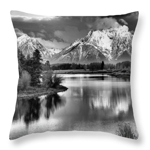 Tetons In Black And White Throw Pillow featuring the photograph Tetons In Black And White by Dan Sproul