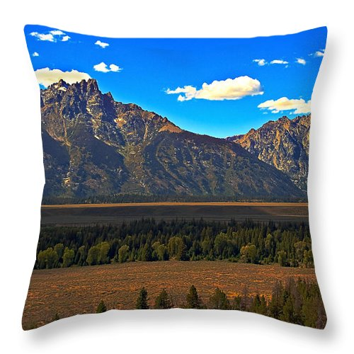 Sunrise Throw Pillow featuring the photograph Tetons Mountians by Robert Bales