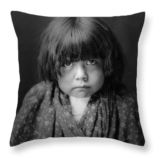 1905 Throw Pillow featuring the photograph Tewa Indian Child Circa 1905 by Aged Pixel