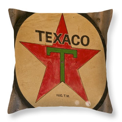Schulenburg Texas Texas Star Sign Gas Station Signs Throw Pillow featuring the photograph Texaco Star by Bob Phillips