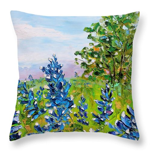 Tags: Iris Paintings Paintings Throw Pillow featuring the painting Texas Bluebonnets by Karen Tarlton