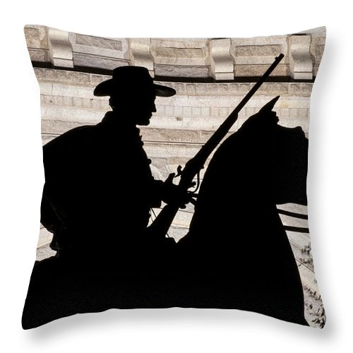 Austin Texas Terry's Texas Rangers Ranger Statue Statues State Capitol Capitols Throw Pillow featuring the photograph Texas Ranger by Bob Phillips