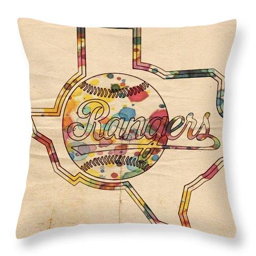 Texas Rangers Throw Pillow featuring the painting Texas Rangers Logo Vintage by Florian Rodarte