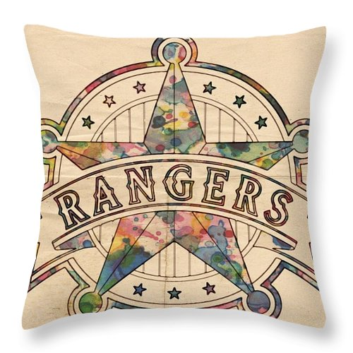 Texas Rangers Throw Pillow featuring the painting Texas Rangers Poster Art by Florian Rodarte
