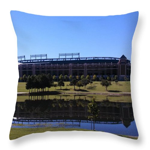 Texas Throw Pillow featuring the digital art Texas Rangers Reflection by Alec Drake