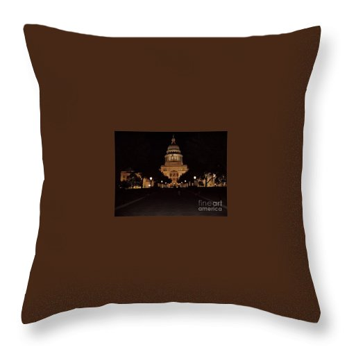 Texas State Capital Throw Pillow featuring the photograph Texas State Capital by John Telfer