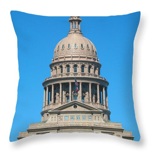Austin Throw Pillow featuring the photograph Texas State Capitol With Six Flags by Connie Fox
