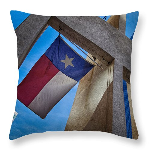 Texas State Flag Throw Pillow featuring the photograph Texas State Flag Downtown Dallas by Kathy Churchman