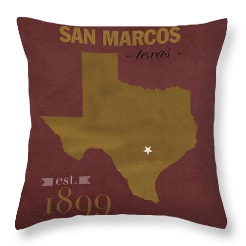 Texas State University Bobcats San Marcos College Town State Map