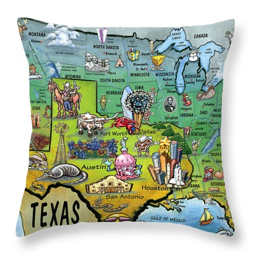 Texas Throw Pillow featuring the painting Texas Usa by Kevin Middleton