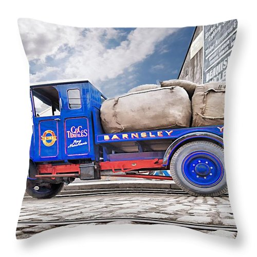 Beamish Throw Pillow featuring the photograph Textiles Truck by John Lynch