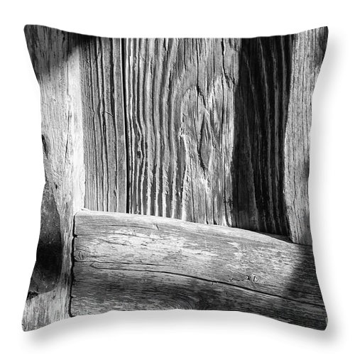 Mission San Jose San Antonio Texas Wooden Door Wood Doors Texture Textures Metal Iron Handle Handles Missions Light And Shadow Shadows Architecture Black And White Throw Pillow featuring the photograph Textures And Shadows 2 by Bob Phillips