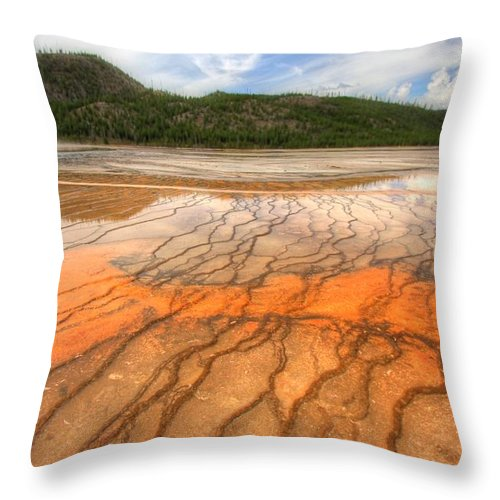 Grand Prismatic Spring Throw Pillow featuring the photograph Textures Of The Grand Prismatic by Jackie Novak