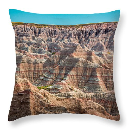 Badlands Throw Pillow featuring the photograph Tha Badlands by Perry Webster