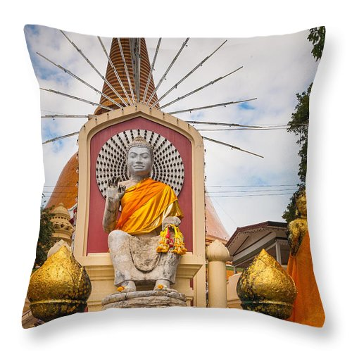 Asia Throw Pillow featuring the photograph Thai Buddha by Inge Johnsson