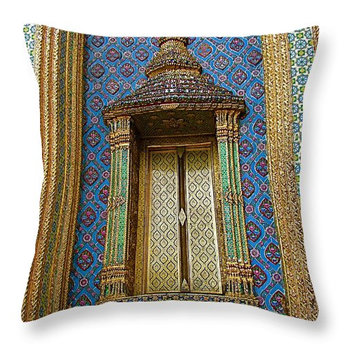Thai-khmer Pagoda Window At Grand Palace Of Thailand In Bangkok Throw Pillow featuring the photograph Thai-kmer Pagoda Window At Grand Palace Of Thailand In Bangkok by Ruth Hager