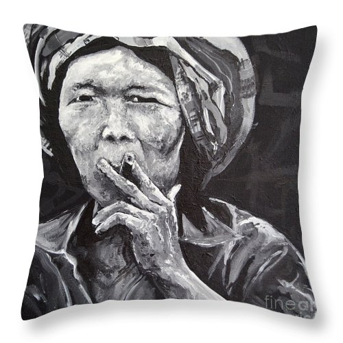 Thailand Throw Pillow featuring the painting Thai Woman Portrait by Paola Correa de Albury