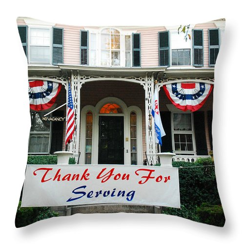Bristol Throw Pillow featuring the photograph Thank You For Servinvg by James Kirkikis