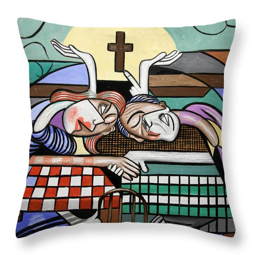 When Two Or More Are Gathered Throw Pillow featuring the painting Thank You Jesus When Two Or More Are Gathered by Anthony Falbo