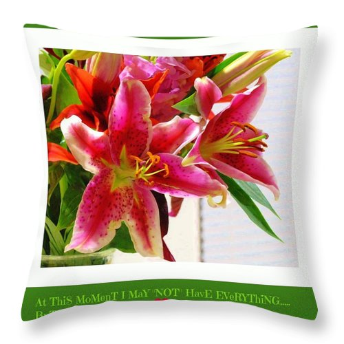 Stargazer Lily Throw Pillow featuring the photograph Thankful... by Angela J Wright