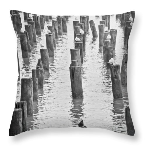 Bw Throw Pillow featuring the photograph That Old Warf by PatriZio M Busnel