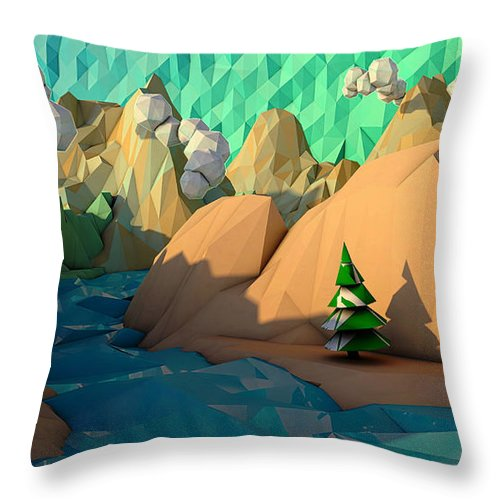 C4d Throw Pillow featuring the digital art That Perfect Tree by Adam Vance