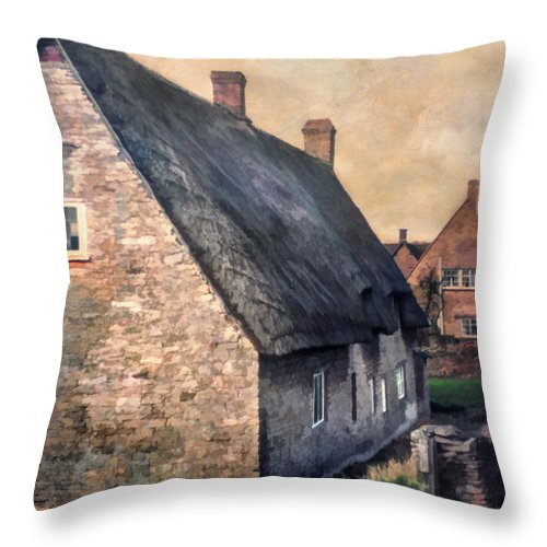 Thatch Throw Pillow featuring the photograph Thatch Roof Cottage by David and Carol Kelly